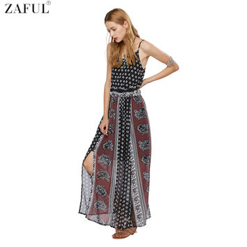 ZAFUL Boho Dress Summer Women Beach Dress Bohemian Maxi Loose Strapless Sexy Retro Nation Printing slit Chiffon Dresses vestidos