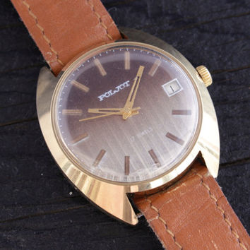 Vintage gold plated Poljot mens watch with date window russian watch cccp ussr
