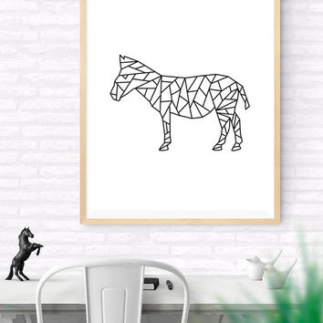 Geometric Zebra, Origami Art, Printable wall art, Geometrical Animal print, Zebra Art Print, Modern Zebra Art, Nursery kids Art, Woodlands