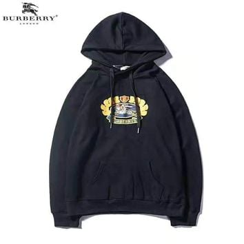 Burberry autumn and winter new trend embroidery icon casual hooded sweater Black