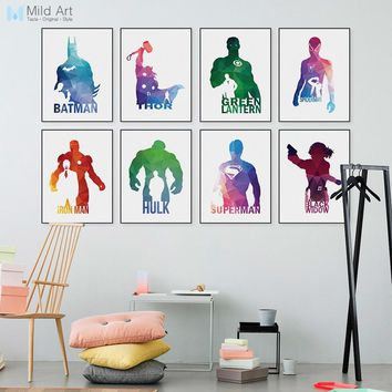 Abstract Geometric Superhero Avengers Batman Pop Movie Infinity War Posters Prints Nordic Wall Picture Home Deco Canvas Painting