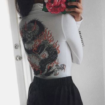 Dragon Mock Neck Bodysuit