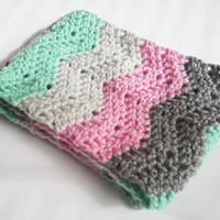 Chevron Stitch Infinity Scarf in Mint, Grey and Pink,  ready to ship.