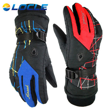 LOCLE Winter Snowboard Gloves Outdoor Sports Warm Windproof Cotton Breathable 12 Colors Men or Women Ski Gloves