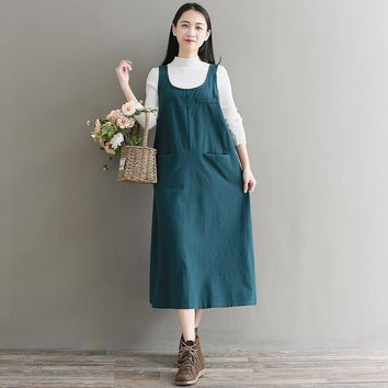 New Women Autumn Spring All Match Sleeveless Round Neck Pocket Loose Straight Calf Length Dress Fashion Young Clothes