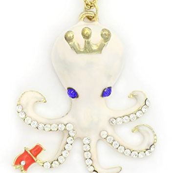 King Octopus Necklace White Crystal NF16 Aquatic Coral Reef Steampunk Ocean Pendant Fashion Jewelry