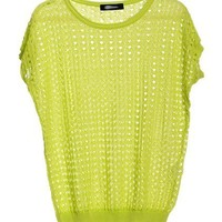 Green Hollow Out Short Sleeves Knitwear
