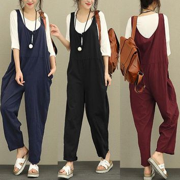 Body Feminino Celmia Linen Jumpsuits Overalls 2018 Summer Autumn Casual Loose Sleeveless Backless Trousers Long Pants Plus Size