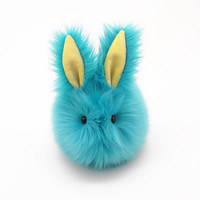 Breeze Bunny Rabbit Aqua Blue and Yellow Stuffed Animal  Plush Toy - 6x10 Inches Large Size