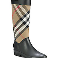 Burberry - Clemence Check Canvas Rain Boots - Saks Fifth Avenue Mobile