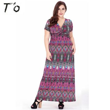 JTCWEAR Summer Bohemian Long Dress Sexy Deep V Neck Short Sleeve Party Club Beach Holidays Boho Chic Casual Maxi Lady Dress 762