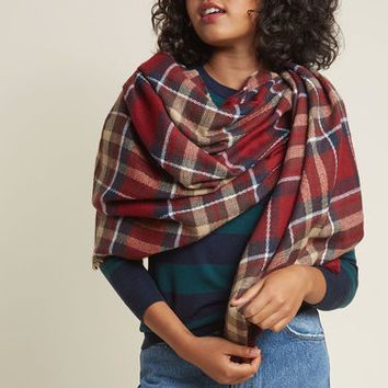 Willamette Wanderings Plaid Blanket Scarf in Earth