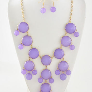 Bubble Necklace Inspired By J Crew Bubble Statement Bib Necklace  Lavender Purple bubble necklace and earrings set