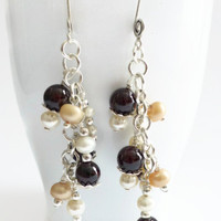 Garnet earrings, sterling silver garnet and pearl January birthstone hand wired chain earrings,UK shop