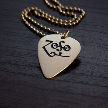 Zoso - Jimmy Page Etched Nickel Silver Guitar Pick Necklace