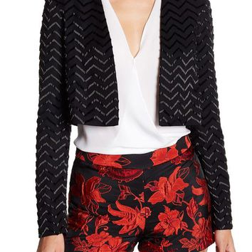 alice + olivia | Peyton Embellished Silk Open Front Jacket