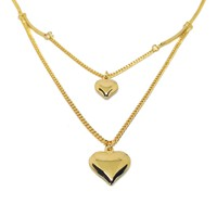 (1-60-L-h5) Gold Overlay Double Heart Necklace, 17.5""