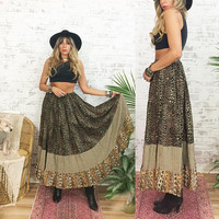 Vintage 80's SAFARI Leopard Print Maxi Boho Ethnic Gypsy Skirt || Size Small To Medium