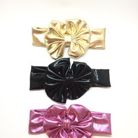 Big Bow Headwrap - Metallic Pink, Gold or Black, baby bow headband, big bow headband, baby bow wrap,baby shower gift, baby photo prop