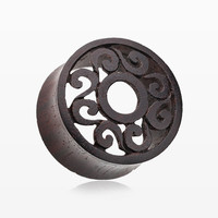 A Pair of Venice Filigree Organic Sono Wood Ear Gauge Tunnel Plug