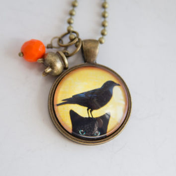 Black Cat Necklace with Bird - Art Pendant -  Halloween Jewelry - Cauldron Charm - Peeking Black Cat - Animal and Pet Jewelry - Spooky Cat
