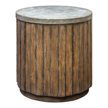 Maxfield Rustic Wooden Drum Accent Table by Uttermost