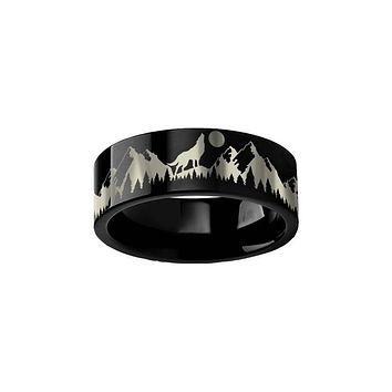 Wolf Howling at Moon Mountains Black Tungsten Ring