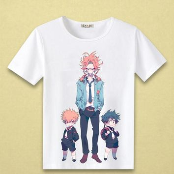 Cosplaydiy Boku no Hero Akademia Cosplay T-shirt My Hero Academia Izuku Midoriya All Might Print shirt Cotton Short Sleeve Tee
