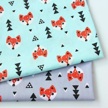 2018 New Prints fox 100% Cotton twill fabric for DIY Baby bedding Sewing patchwork cotton dress making fabrics
