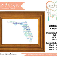 Custom State Word Collage Wall Art- Digital File or Deposit For Prints- Florida Word Art- Florida Word Collage- Florida Art Print