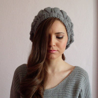 Grey Leaf Beanie , Gray Beanie