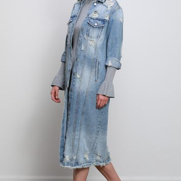 Destroyed Denim Trench Jacket