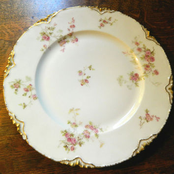 Haviland Limoges - Vintage Pink Floral and Gold Decorated Dinner Plate or Cake Plate - Marked Haviland & Co Limoges France