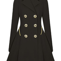 Wool Trench Coat Black/Beige
