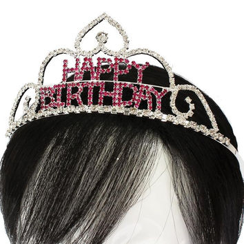 Rhinestone Crystal Hair Comb Happy Birthday Tiara