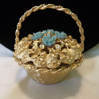 FLORENZA Floral Victorian Revival Trinket Keepsake Pill Box Turquoise Flower Basket with Handle