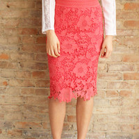 Crochet Lace Pencil Skirt - Coral