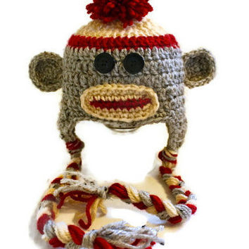 Sock Monkey Crocheted Hat for Newborn to Child by makinitmama
