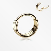 Golden Triple Stack Hinged Steel Segment Clicker Ring