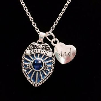 Blue Police Shield Badge Dad Heart Gift For Officer Father Charm Necklace