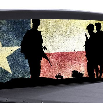 Military Army Texas Flag Universal Truck Rear Window 50/50 Perforated Vinyl