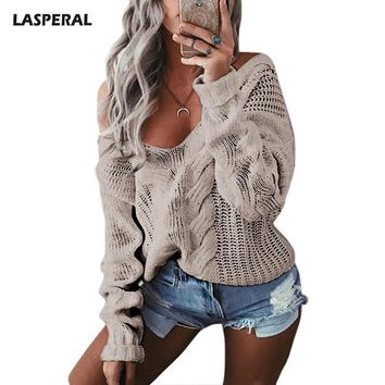 LASPERAL 2017 Autumn Outwear Sweater Casual Knitting Long Sleeve Pullovers Sweaters Women Off Shoulder Deep V-Neck Pullovers
