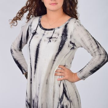 Jodifl Ivory and Black Tie Dye Soft Tunic Top