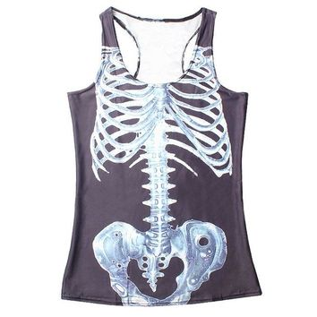 Personality Sports Tank Tops Women Sexy Sleeveless T Shirt Clothes Elastic Yoga Running Vests Camisole Skeleton Digital Print