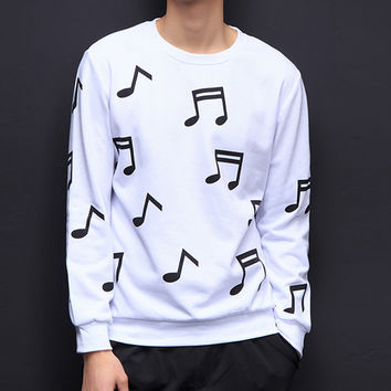 2017 black white o neck striped mens hoodies and sweatshirts Butterfly men casual floral music printed Sweatshirt 4XL 5XL