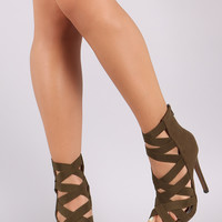 Liliana Elasticized Crisscross Straps Stiletto Heel