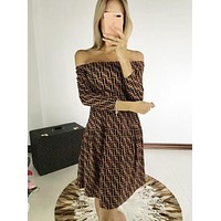 FENDI Autumn Winter Popular Women Sexy FF Letter Off Shoulder Long Sleeve Dress