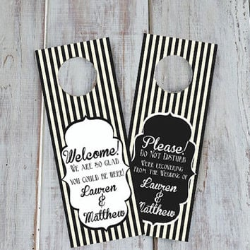 Wedding Hotel Door Hangers - TWO SIDED -  Kraft Paper or White Cardstock - Welcome Guest Hotel Bag Addition