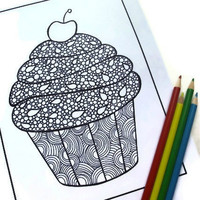 Zentangle Inspired Coloring Page Printable Page 3 Cupcake by JoArtyJo