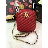 Gucci Fashionable Women Leather Metal Chain Shoulder Bag Crossbody Satchel Red